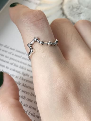 S925 Sterling Silver retro Big Dipper Seven Star  Free Size Ring