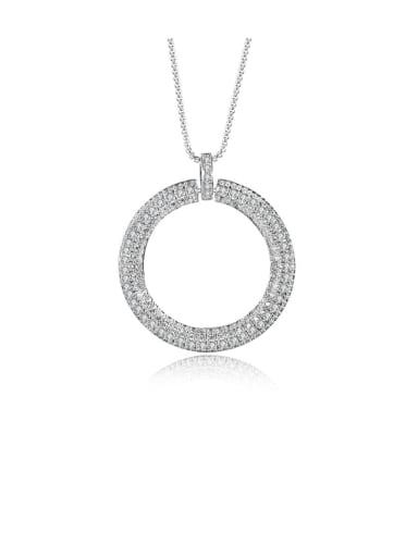 Copper Cubic Zirconia Minimalist Hollow Round Pendant  Necklace