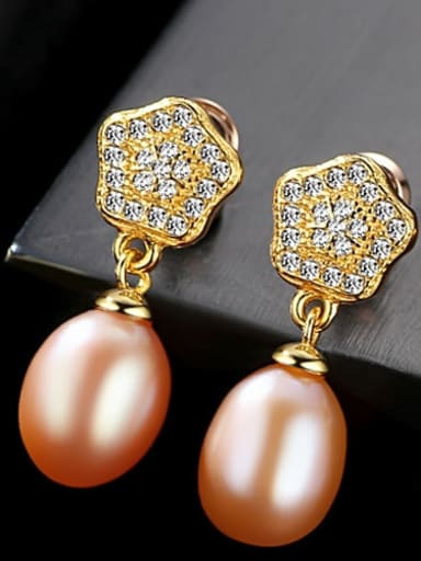 Pink 2F11 925 Sterling Silver Cubic Zirconia  Geometric Freshwater Pearls   Earring
