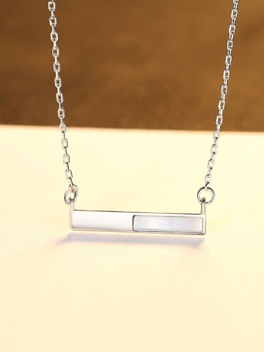 Platinum 14d08 925 Sterling Silver Shell Geometric Minimalist Necklace