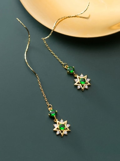 925 Sterling Silver With Gold Plated Fashion Star Threader Earrings