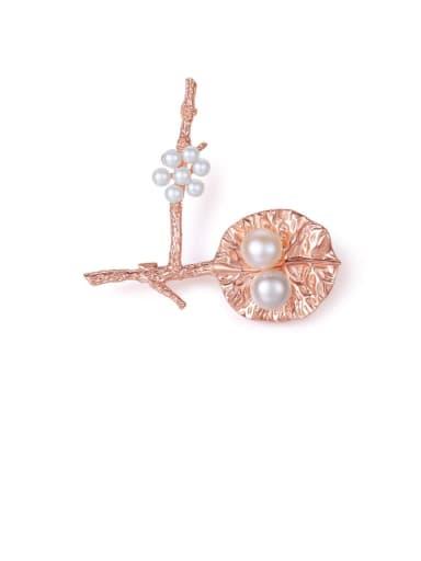 925 Sterling Silver Freshwater Pearl Multi Color Flower   Leaf Trend Brooch