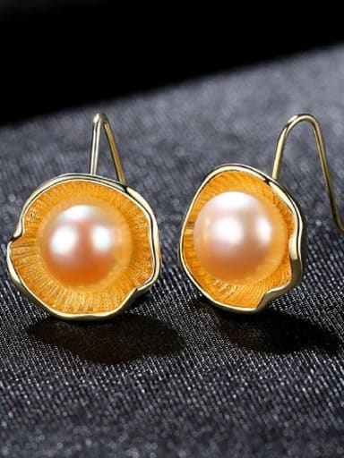 Powder 3H08 925 Sterling Silver Freshwater Pearl Flower Vintage Hook Earring