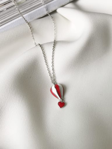 925 Sterling Silver hot air balloon enamel Necklace