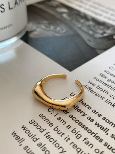 Inclined concave ring 925 Sterling Silver Irregular Minimalist Band Ring
