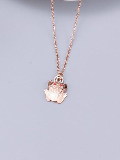 Titanium Rhinestone Red Frog Necklace