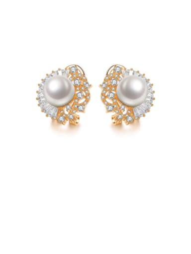 Copper Cubic Zirconia Dainty Shell Bead Studs Earring