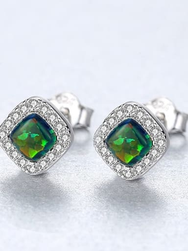 Green 18h05 925 Sterling Silver Opal Square Minimalist Stud Earring