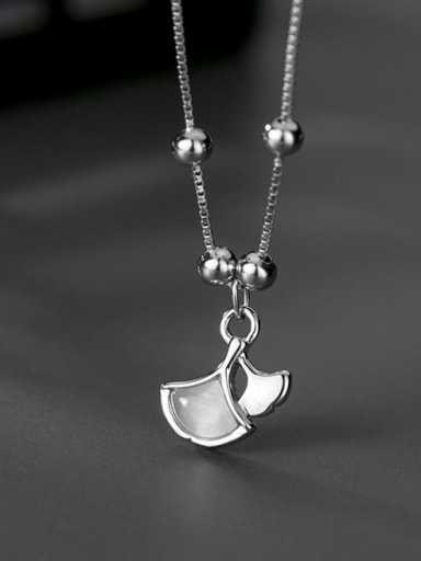 925 Sterling Silver Cats Eye Gray  Apricot Leaf Pendant  Necklace