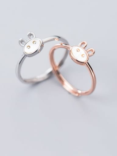 925 Sterling Silver  Cute  Fashion cute shell rabbit free size Ring