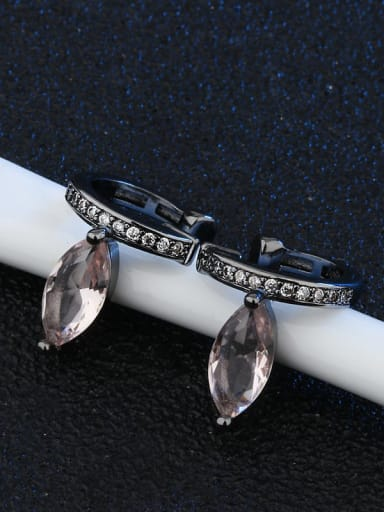 Black gold Copper Glass Stone Water Drop Vintage Huggie Earring
