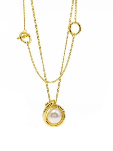 gold Copper Imitation Pearl White Round Minimalist Multi Strand Necklace