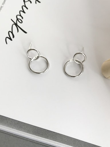 925 Sterling Silver Hollow Round Minimalist Drop Earring
