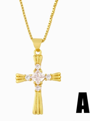 Copper Cubic Zirconia Cross Vintage Pendant Necklace