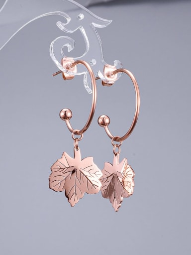 Titanium Leaf Trend Hook Earring