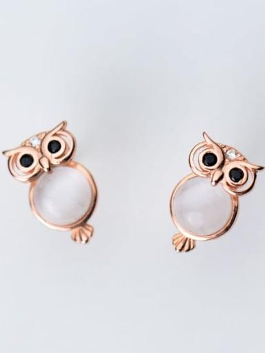 925 Sterling Silver Cats Eye White Owl Cute Stud Earring