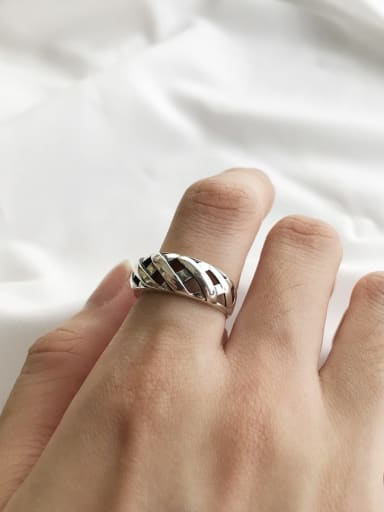 925 Sterling Silver textile convex Vintage MIDI ring