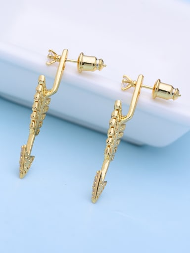 gold t08a05 Copper Rhinestone Irregular Vintage Earring