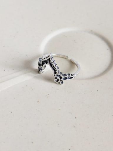 J 839 rings 925 Sterling Silver Glass Bead Blue Heart Vintage Midi Ring