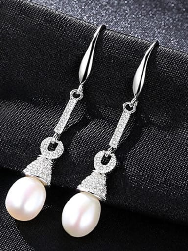 White 1A04 925 Sterling Silver Freshwater Pearl Multi Color Water Drop Trend Hook Earring