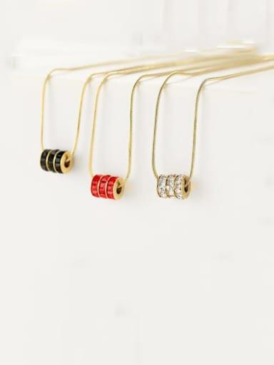 Titanium Rhinestone Multi Three-layer Multi-Color Square Diamond Necklace