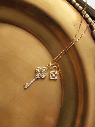 925 Sterling Silver Rhinestone simple fashion key necklace