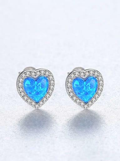 Blue zirconium 18H09 925 Sterling Silver Opal Heart Dainty Stud Earring