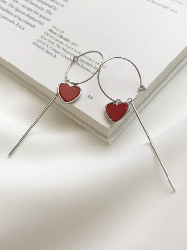925 Sterling Silver Red Enamel Tassel Minimalist Threader Earring