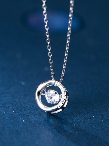 925 Sterling Silver Cubic Zirconia Simple hollow round pendant  Necklace
