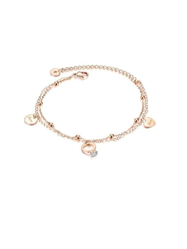 098 rose gold Anklet Heart Minimalist Titanium Anklet