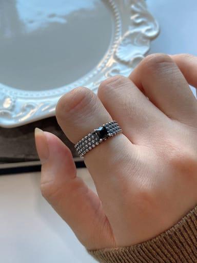 925 Sterling Silver Cubic Zirconia Black Square Vintage Midi Ring