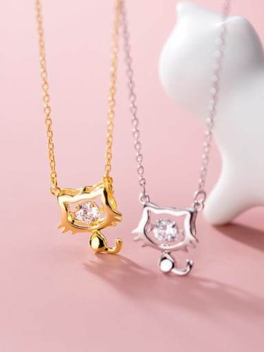 925 sterling silver rhinestone Cute cat  Pendant necklace