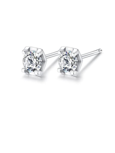 925 Sterling Silver Cubic Zirconia White Hexagon Minimalist Stud Earring