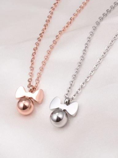 Titanium Bead Bowknot Minimalist Choker Necklace
