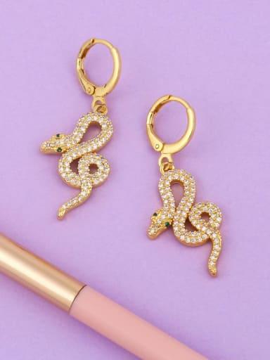 Brass Cubic Zirconia Snake Vintage Drop Earring
