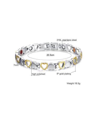 Stainless Steel With Gun Plated Simplistic Hollow Heart Bracelets