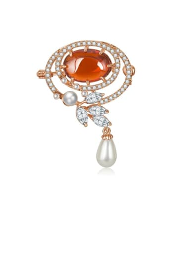 Copper Cubic Zirconia  Luxury Oval Brooch
