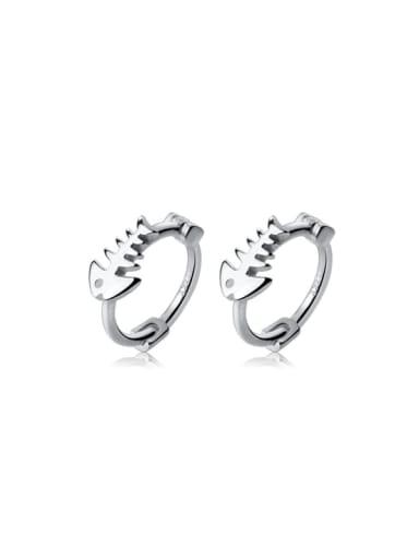 925 Sterling Silver Fish Minimalist Huggie Earring