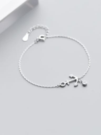 925 Sterling Silver Cubic Zirconia White Anchor Minimalist Link Bracelet