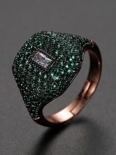 Green Copper Rhinestone Geometric Dainty Band Ring