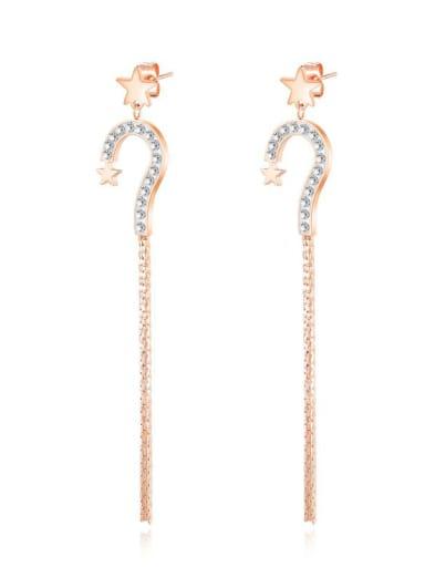Titanium Rhinestone Tassel Minimalist Drop Earring