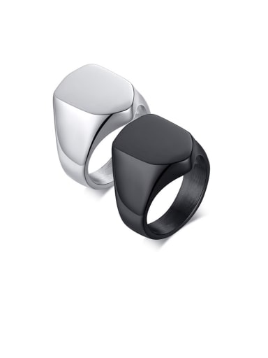 Stainless Steel With White Gold Plated Simplistic  Smooth Geometric Band Rings