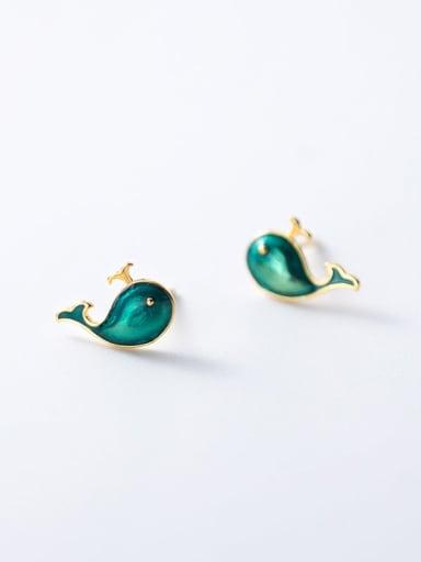 925 Sterling Silver Enamel Irregular Minimalist Stud Earring