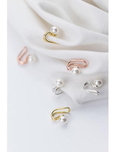 925 Sterling Silver Imitation Pearl  Geometric Minimalist Clip Earring