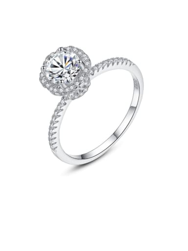925 Sterling Silver Cubic Zirconia White Round Minimalist Band Ring
