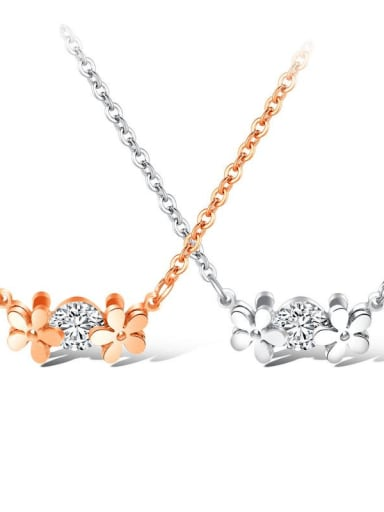 Titanium Rhinestone Flower Minimalist Necklace