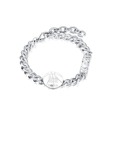 Titanium Rhinestone Round Ethnic Link Bracelet