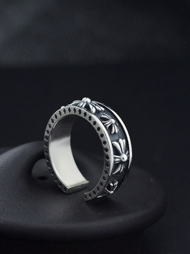 VintageSterling Silver With Antique Silver Plated Vintage  Smear Cross Free Size  Rings