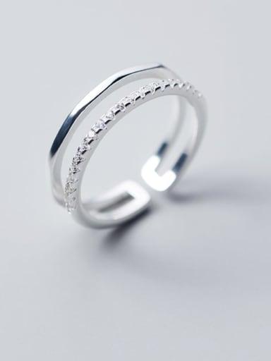 925 Sterling Silver Rhinestone White Irregular Minimalist Free Size Band Ring
