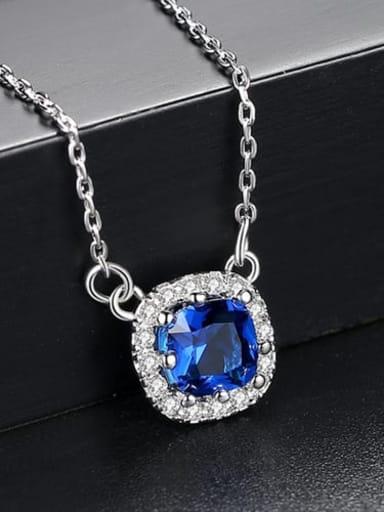 Sapphire t10f04 Copper Cubic Zirconia Minimalist Geometric pendant  Necklace